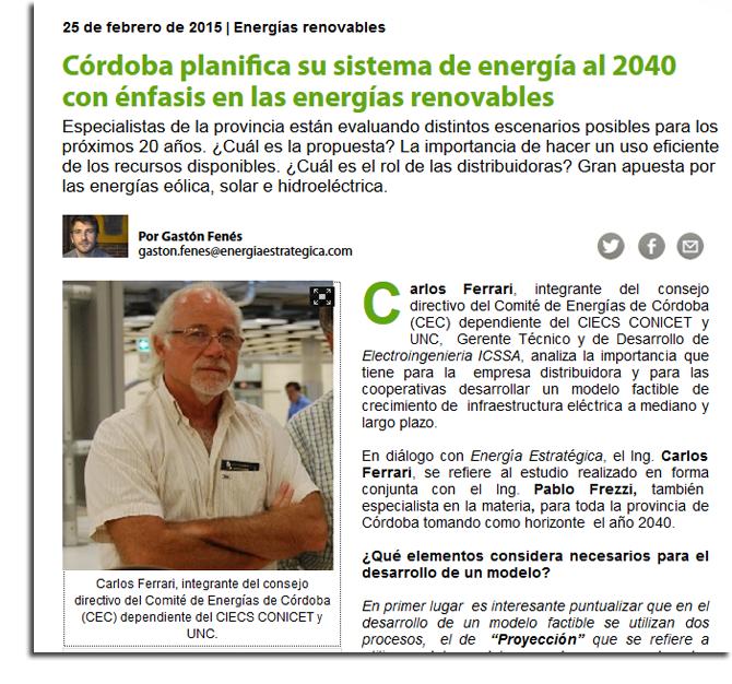 Especialistas cordobeses desarrollan un modelo factible de crecimiento de infraestructura eléctrica