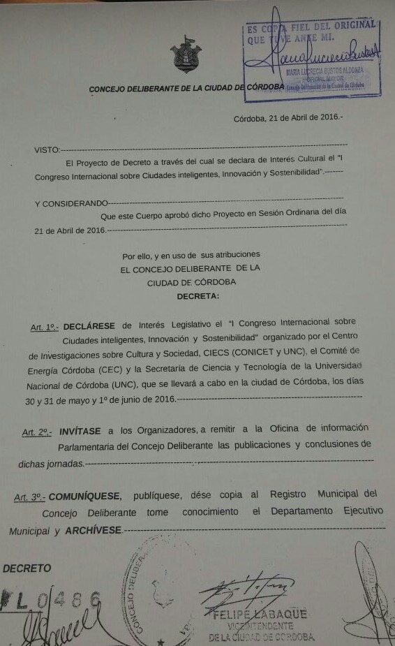 Congreso CIIS-16. Declarado de interés cultural y legislativo por la Municipalidad de Córdoba